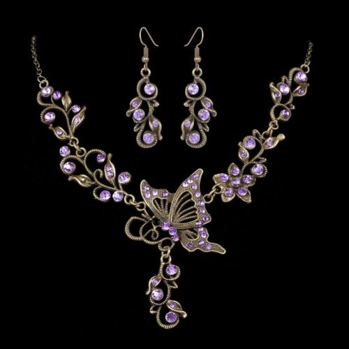 Retro Boho Crystal Butterfly Women Necklace Earrings Jewelry Set Wedding Gift