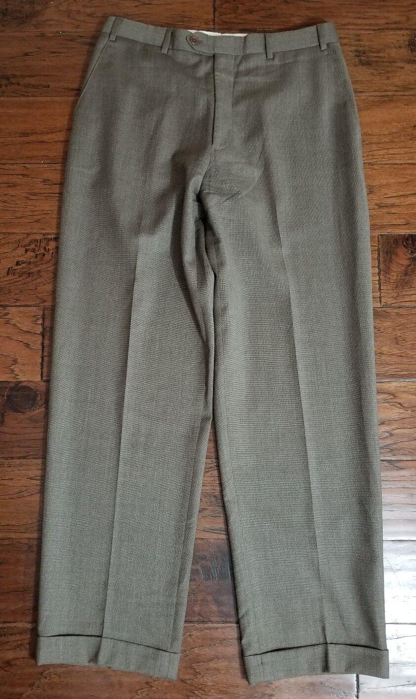 Men's Armani Collezioni Brown Weave Wool Flat Front Pants Sz 34 Inseam 3.5  Euc