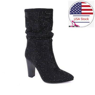 Brieten Women/'s High Heel Knee High Boots Leopard Print Over The Knee Long Boot