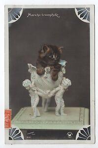 Details Sur Animal Chat Cat Cats Carte Style Photo Chaton Dans Un Bibelot En Biscuit
