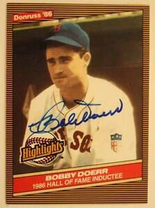 Boston Red Sox Hall of Famer Bobby Doerr signed/autographed 1986 Donruss card!