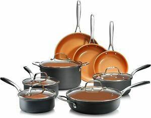 Gotham Steel Pro Hard Anodized Nonstick 13 Piece Cookware Set - As Seen on TV