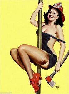 94035-Pin-Up-Girl-Fire-Belle-Fireman-Pole-Pin-Up-Decor-LAMINATED-POSTER-AU