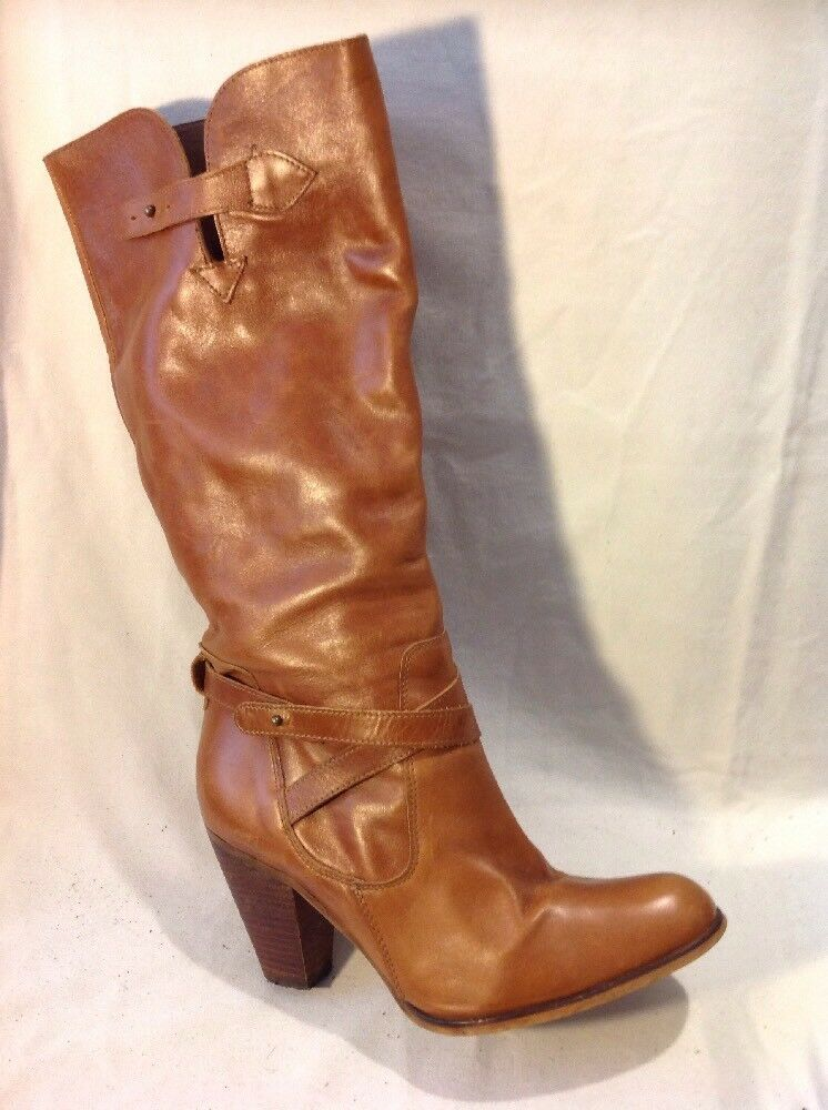 Office London Brown Knee High Leather Boots Size 40