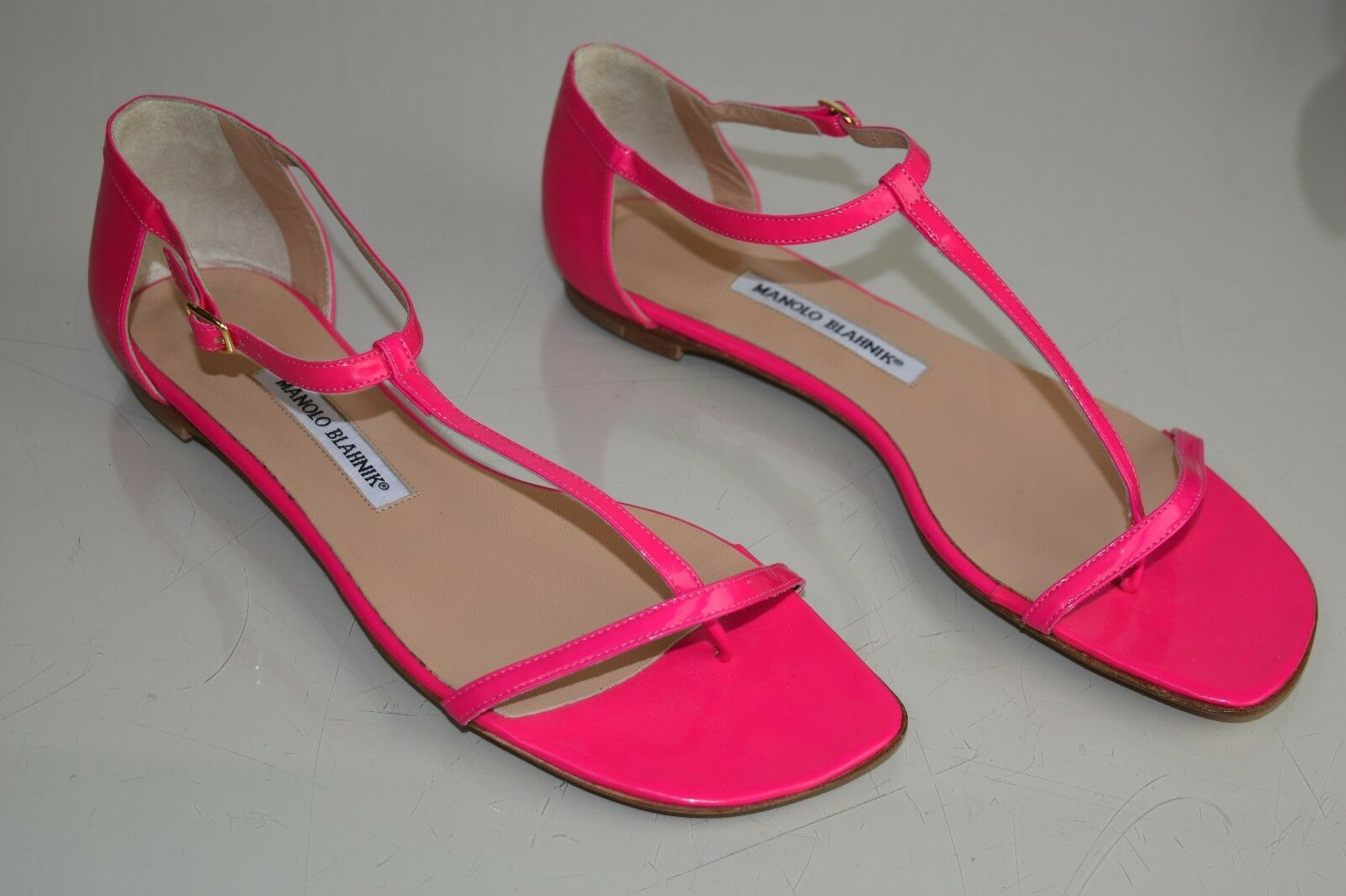 NEW PATENT MANOLO BLAHNIK STRAPPY SANDALS FLATS HOT PINK PATENT NEW LEATHER Flat SHOES 40 e1c348