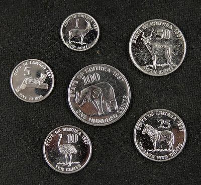 ERITREA coins set of 6 pieces 1997 UNC
