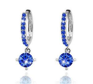 Diamante-Crystal-Silver-amp-Royal-Blue-Zircons-Rhinestone-Hoops-Drop-Earrings-E552