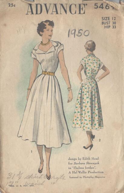 1950 Vintage Sewing Pattern B30 Dress (r843) by Edith Head | eBay