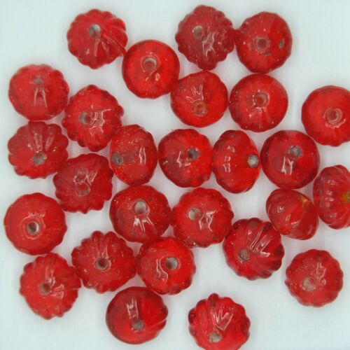 Glass Beads Red Transparent Blossom 8mm Made in India. Pack of 25