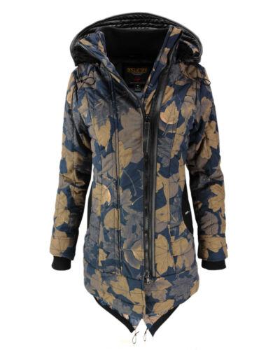 Winterjacke Mantel Damen Kapuze Khujo Neu Blätter print Cayus Parka Jacke Winter 4CTgHxq5