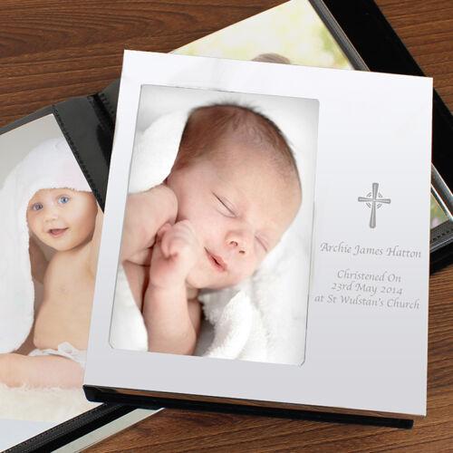 PERSONALISED ENGRAVED SILVER CHRISTENING DEDICATION CROSS PHOTO FRAME ALBUM GIFT