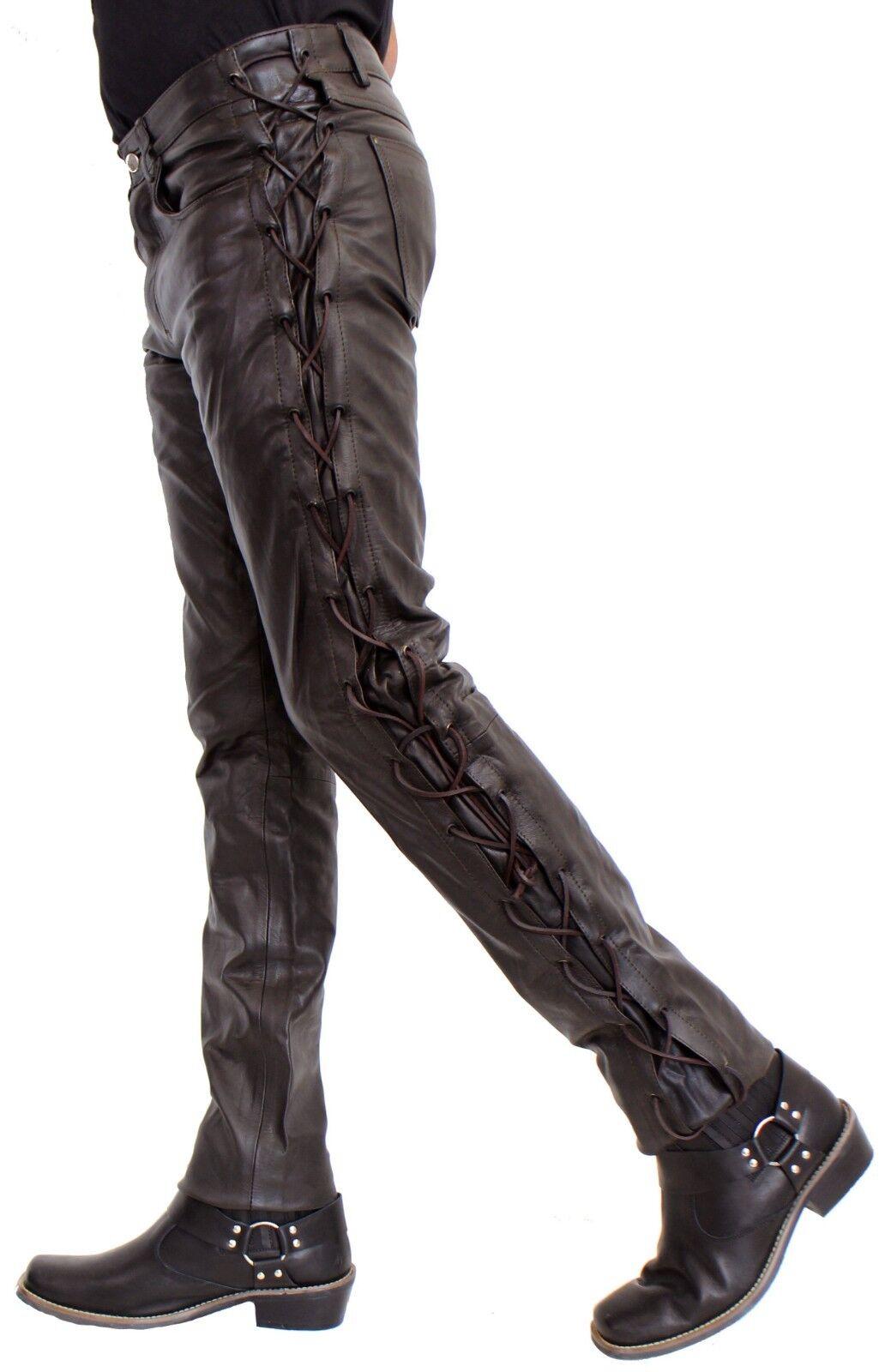 Schnürhose Bikerhose BOSS aus robustem robustem robustem Cow Waxy Leder in braun oder schwarz | Qualität Produkt  ab0563