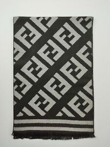 FENDI genuine vintage Grey / Black winter Cashmere / Wool Scarf Scarves