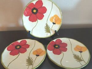 Rare Clay Art Poppies Dinner Plates x3 Dinner plate A Red,Orange ...