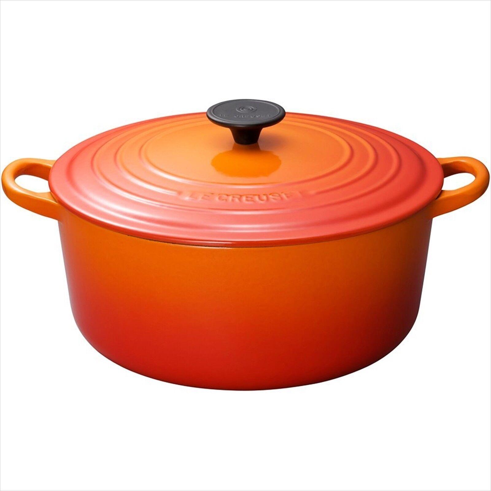 Le Creuset 20cm IH Enamel Pot Cocotte Rondo orange F S