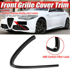 For Alfa Romeo Giulia ABS Carbon fiber Front Grille Grill Logo Frame Cover 1pc