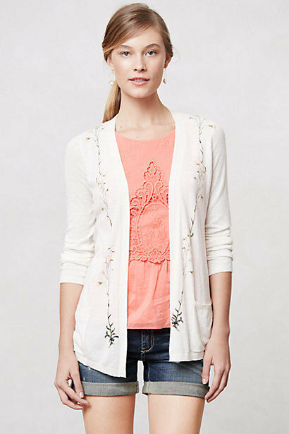 NIP Anthropologie Tousled Vines Cardigan by Guinevere Sz L Petite