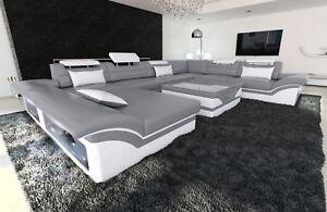 Wohnlandschaft Enzo Xxl Designer Sofa Mit Recamiere Led