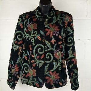 Molly-And-Maxx-Blazer-Jacket-Women-Size-Large-Floral-Print
