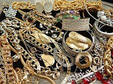 Vintage ALL Gold & Silver Red Glass Crystal Chain Necklace Bracelet Lot NICE