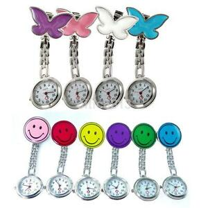 Medical-Nurse-Stainless-Steel-Quartz-Tunic-Pocket-Clip-on-Brooch-Fob-Watch-Cute