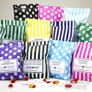 Personalised-Wedding-Favour-Sweet-Birthday-Candy-Cart-Bags-Striped-Polka-Dot