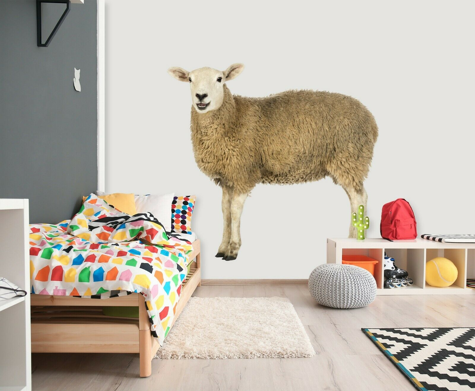 3D Sheep Wool A64 Animal Wallpaper Mural Poster Wall Stickers Decal Zoe