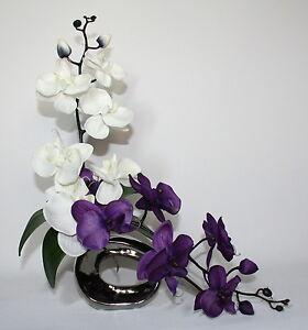 Image Is Loading Artificial Silk Ivory Amp Purple Orchid Flower Arrangement