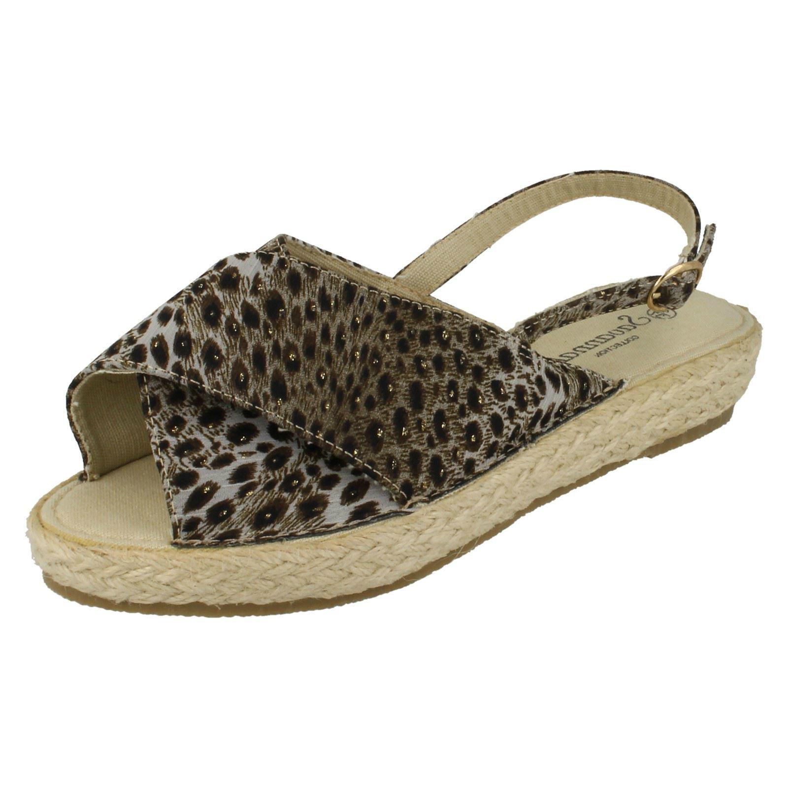 Savannah f2246 mujer cuña NATURAL/Estampado Leopardo Sandalias de cuña mujer (r34b)( Kett ) 19b361