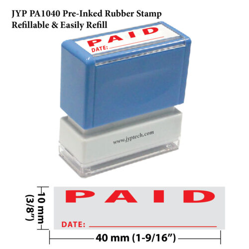 "JYP PA1040 Pre-Inked Rubber Stamp with /""Paid and Date/"""