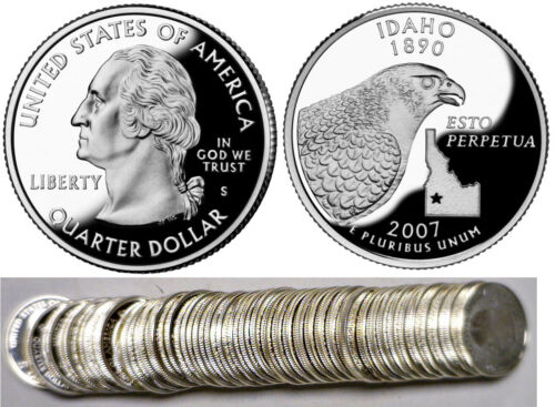 2007-S Idaho 90/% Silver Proof Statehood Quarters 40 Coin Roll