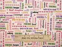 Pink Ribbon Cancer Awareness Fabric 100% Cotton By The Yard Love Hope White