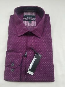 Report Collection Shirt Burgundy Purple Patterned Size 16 1/2- 34/35 in Slim Fit