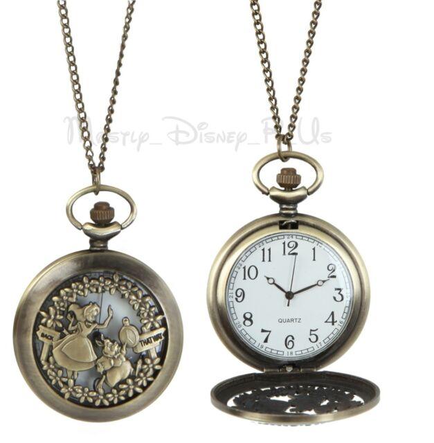 New Disney Alice in Wonderland Pocket Watch Necklace Burnished Gold Toned