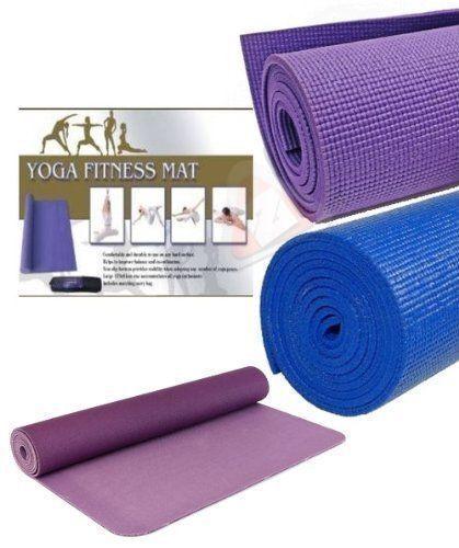 Yoga Esercizi Fitness Allenamento Tappetino antiscivolo Custodia di trasporto 173x61cm Blu Viola Auber