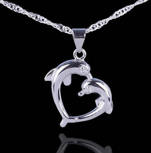 "Love Heart Sterling Silver Dolphin Necklace Pendant with 18"" Chain Gift Box L32"