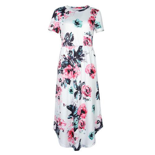 Sweet Cute Mid-Calf Women Summer O-neck Short Sleeve Printed Floral Dress