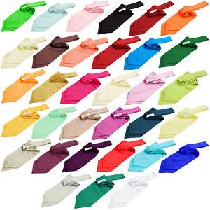 Hommes-Cravate-Lavalliere-Foulard-Ascot-Satin-Multicolore-DQT