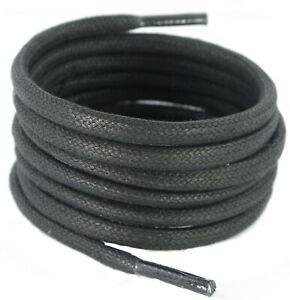 MotivéE 140 Cm 5 Mm Round Waxed Coton Noir Boot Laces 1 & 2 Paire Paquets-afficher Le Titre D'origine