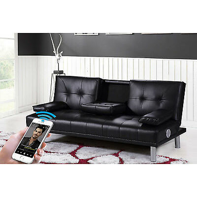 Modern Faux Leather Cinema Sofa Bed Wireless Bluetooth Stereo Speakers 3 Colours