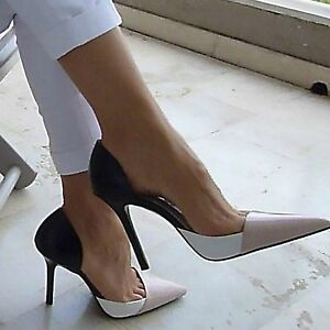 Zara Combined Leather Stiletto High Heel Shoes Woman Authentic Bnwt