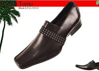 Mens Dress Shoes Amali Black Smooth With Studs Leather Look Slip Ons