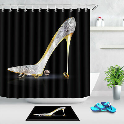 Silver Golden Shoe with Crystals Bathroom Waterproof Fabric Shower Curtain Liner