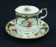 Queens Cup and Saucer Footed Staffordshire England Flowers Floral Blue Crown