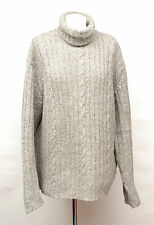 P660/19 Burton Woolen Chunky Cable Knit Grey Turtle Neck  Jumper,size XL