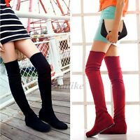 Women Flat Bottom Boots Shoes Over The Knee Thigh High Stretch Suede Long Boots