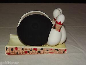 VINTAGE-JAPAN-1970S-BOWLING-PINS-amp-BALL-CERAMIC-NAPKIN-COASTER-HOLDER