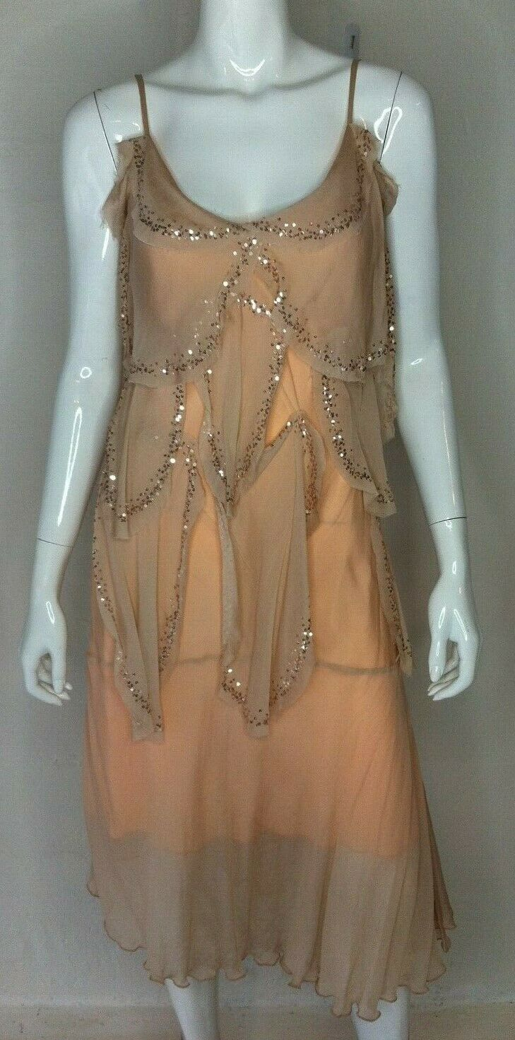 BNWT ZHOUK damen Größe 10 Peach Nude Silk Sequin Vintage Flapper Dress RRP