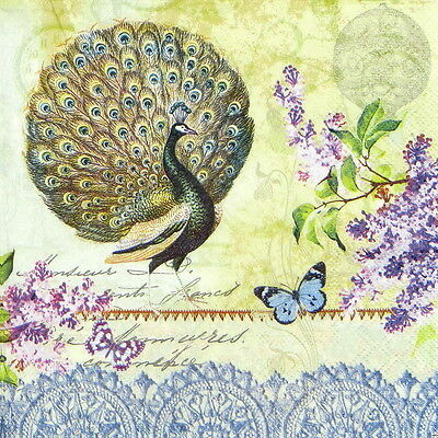 4x Paper Napkins for Decoupage Decopatch Vintage Peacock