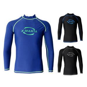 Mens Wetsuit Top Long Sleeve Rash Guard Shirt Swimwear Surf Diving ... 9e46e165e